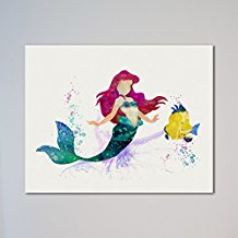 little-mermaid-ariel-and-the-flounder-print Mermaid Wall Art and Mermaid Wall Decor