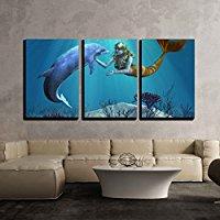 mermaid-dolphin-3-piece-canvas-art Mermaid Wall Art and Mermaid Wall Decor