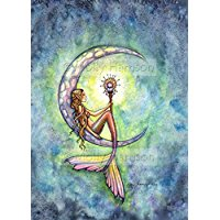 mermaid-moon-watercolor-print Mermaid Wall Art and Mermaid Wall Decor