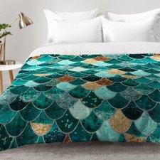mermaid-scales-dark-teal-brown-comforter-set Mermaid Bedding Sets and Mermaid Comforter Sets