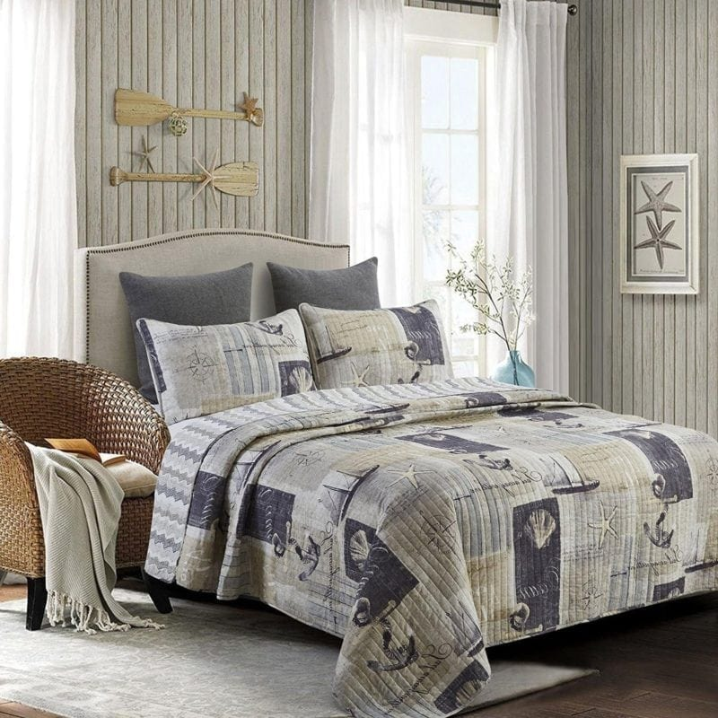 nautical anchor quilt 800x800 the best nautical quilts and nautical bedding sets - Nautical Bedding