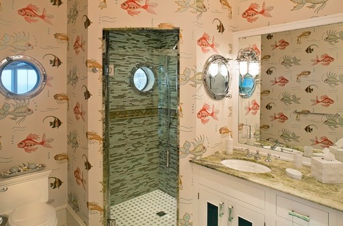 nautical-coastal-retreat-bathroom Porthole Themed Mirrors