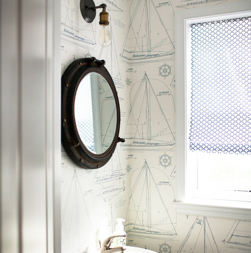 nautical-themed-porthole-mirrors-bathroom 100+ Porthole Themed Mirrors For Nautical Homes For 2020