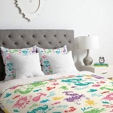 patterned-mermaid-duvet-cover-set Mermaid Bedding Sets and Mermaid Comforter Sets