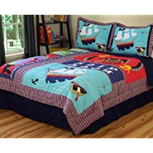pirate-treasure-quilt Pirate Bedding Sets and Pirate Comforter Sets