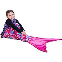 rainbow-colored-pink-mermaid-tail-blanket Mermaid Bedding Sets and Mermaid Comforter Sets
