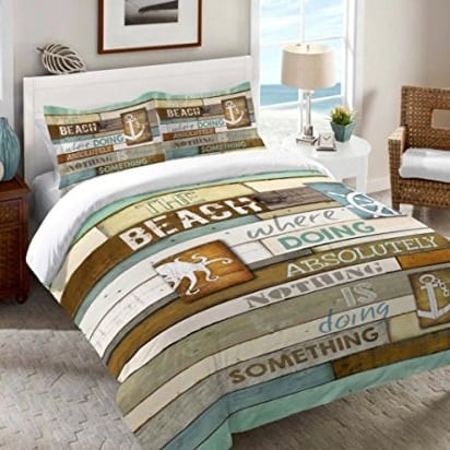rustic-beach-brown-teal-anchor-comforter Nautical Bedding Sets & Nautical Bedspreads