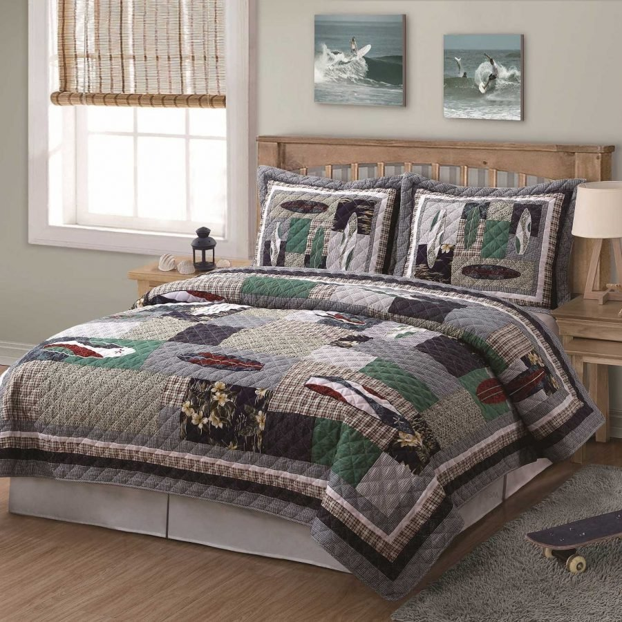 surfing-usa-quilt-with-shams 50+ Surf Bedding and Surf Comforter Sets