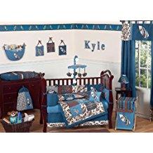 sweet-jojo-designs-blue-brown-surf-crib-bedding 50+ Surf Bedding and Surf Comforter Sets