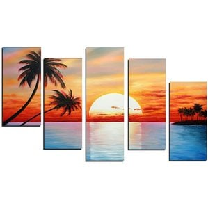 tropical-sunset-oil-paintings-on-canvas Beach Paintings and Coastal Paintings