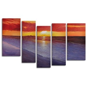 twilight-shore-5-piece-oil-painting-canvas-set Beach Paintings and Coastal Paintings