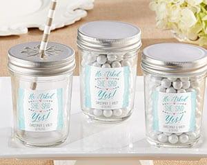 Personalized-He-Asked-She-Said-Yes-Glass-Mason-Jar Mason Jar Wedding Favors