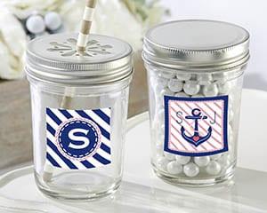 Personalized-Nautical-Bridal-Glass-Mason-Jar Mason Jar Wedding Favors