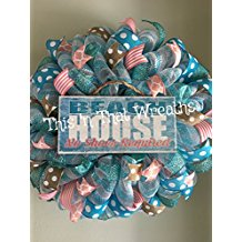 beach-house-mesh-wreath 70+ Beach Christmas Wreaths and Nautical Wreaths