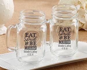 eat-drink-and-be-married-mason-jar-mug-favors-16oz Mason Jar Wedding Favors