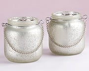 light-champagne-frosted-mercury-glass-hanging-lantern Candle Wedding Favors