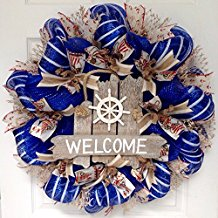 nautical-captains-wheel-welcome-door-wreath 70+ Beach Christmas Wreaths and Nautical Wreaths