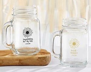 personalized-sunflower-mason-jar-mug-favor Mason Jar Wedding Favors