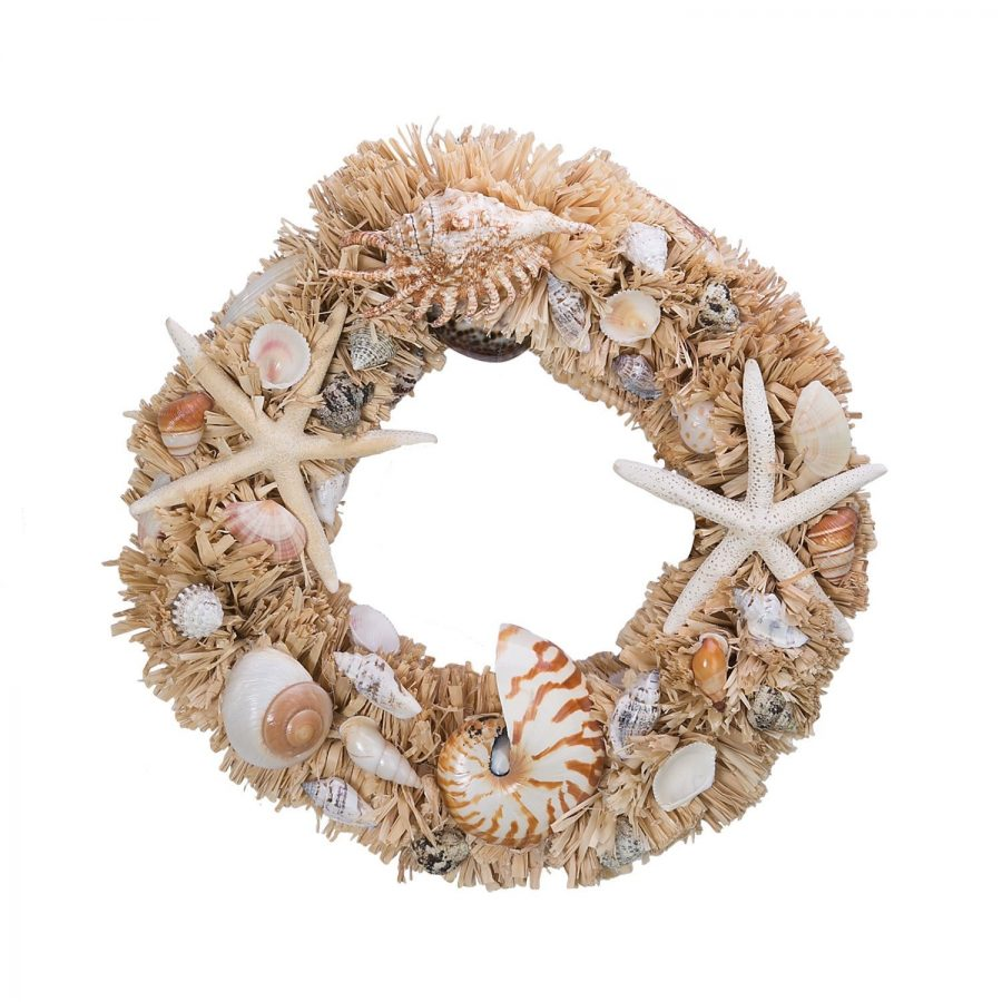 starfish-and-nautilus-seashell-wreath 70+ Beach Christmas Wreaths and Nautical Wreaths