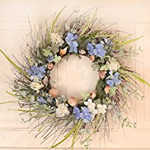 summer-seashell-wreath-with-hydrangeas 70+ Beach Christmas Wreaths and Nautical Wreaths