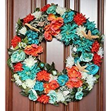 tropical-colorful-flowers-front-door-wreath Beach Christmas Wreaths