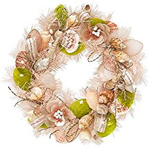 wind-and-weather-floral-shell-wreath Beach Christmas Wreaths