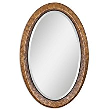 Antiqued-Brown-Capiz-Shell-Framed-Beveled-Oval-Vanity-Wall-Mirror Seashell Mirrors and Capiz Mirrors