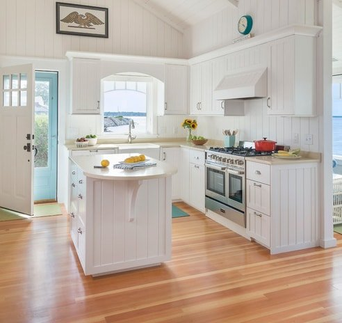 Beach-Cottage-Kitchen-Bungalow-DiMauro-Architects-Inc 101 Beautiful Beach Cottage Kitchens