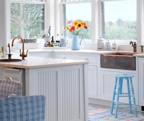 Colorful-Beach-Cottage-by-Donna-Elle-Seaside-Living 101 Beautiful Beach Cottage Kitchens