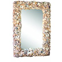 Creative-Co-Op-Wood-and-Oyster-Shell-Mirror Seashell Mirrors and Capiz Mirrors