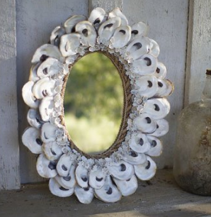 Kalalou-Oval-Oyster-Shell-Mirror Seashell Mirrors and Capiz Mirrors