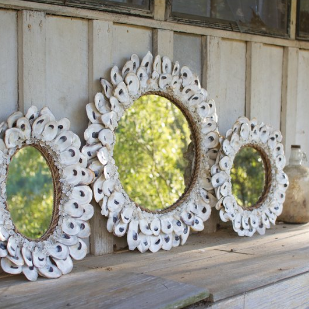 Oyster-Shell-Accent-Mirror Seashell Mirrors and Capiz Mirrors