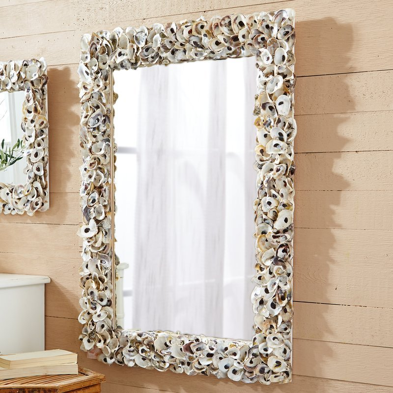Rectangle-Shell-Wall-Mirror-with-Oysters Seashell Mirrors and Capiz Mirrors
