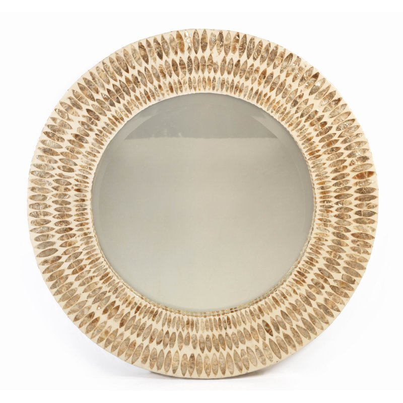 Round-Shell-Accent-Mirror Seashell Mirrors and Capiz Mirrors