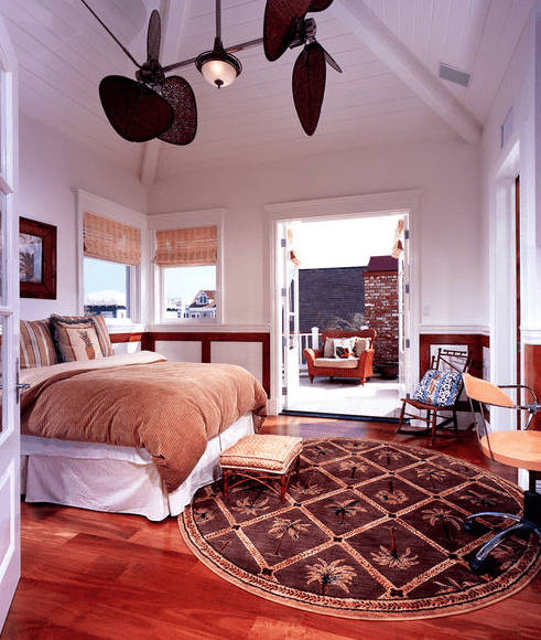 Traditional-Bedroom-with-Circle-Palm-Tree-Rug Tropical Rugs and Tropical Area Rugs