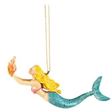 c-and-f-gallery-ii-swimming-mermaid-shell-ornament Mermaid Christmas Ornaments