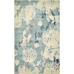 ethel-light-blue-area-rug Tropical Rugs and Tropical Area Rugs