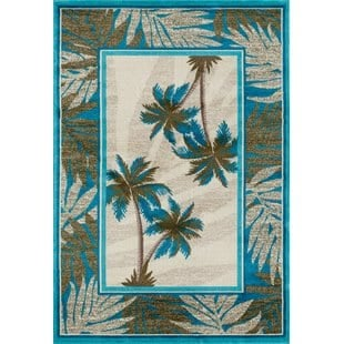 kolb-frond-bluegreen-area-rug Tropical Rugs and Tropical Area Rugs
