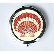 scallop-seashell-compact-mirror Seashell Mirrors and Capiz Mirrors