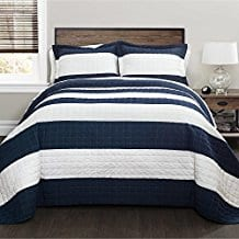 3-Piece-Beatuiful-Navy-White-Full-Queen-Quilt-Set 100+ Nautical Quilts and Beach Quilts