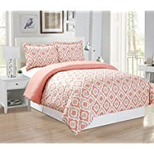 3-Piece-Fine-printed-Quatrefoil-Duvet-Cover-Set-KING-SIZE-Coral Coral Bedding Sets and Coral Comforters