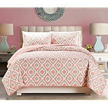 3-Piece-Fine-printed-Quilt-Set-Reversible-Bedspread-Coral Coral Bedding Sets and Coral Comforters