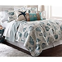 3pc-FullQueen-Size-Coastal-Teal-Blue-Seashell-Starfish-Coral-Reef-Quilt-Set Seashell Bedding and Comforter Sets