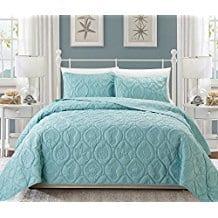 3pc-Light-Baby-Blue-Embossed-Seashell-Theme-Bedspread-King-Set Seashell Bedding and Comforter Sets