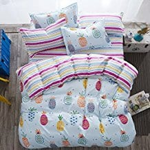 4pcs-Fruit-Print-Bedding-Sheet-Set-One-Duvet-Cover 50+ Pineapple Bedding Sets, Quilts, and Duvet Covers For 2020
