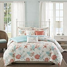 6-Piece-Pink-Coastal-Full-Queen-Size-Duvet-Cover-Set Seashell Bedding and Comforter Sets