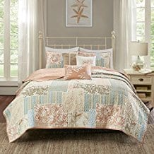 6-Piece-Vibrant-Multi-Color-Coastal-Full-Queen-Size-Coverlet-Set 100+ Best Seashell Bedding and Comforter Sets 2020