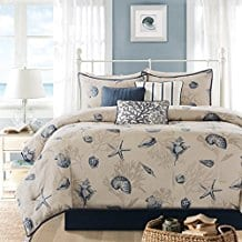 7-Piece-Seashell-Starfish-Coral-Themed-Comforter-Set Nautical Bedding Sets & Nautical Bedspreads