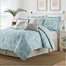 7pc-Blue-Sea-Shell-Themed-Comforter-Queen-Set Nautical Bedding Sets & Nautical Bedspreads