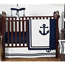 Anchors-Away-Nautical-Navy-and-White-Boys-Baby-Bedding-11-Piece-Crib-Set Nautical Crib Bedding & Beach Crib Bedding Sets